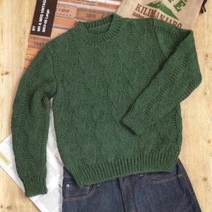 メンズセーター手編みセット☆棒針編み地模様のセーター