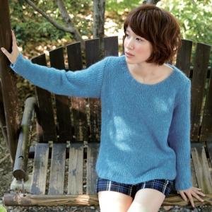 無料編み図セーター☆ボートネックでキレイ色をふんわり♪