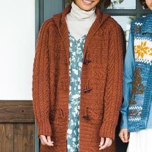 無料編み図ジャケット☆フード付きの暖かいジャケでカジュアルに女の子しよう♪