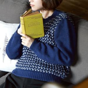 無料編み図プル☆ほっこりカワイイ北欧テイストイギリスゴム編みのセーター