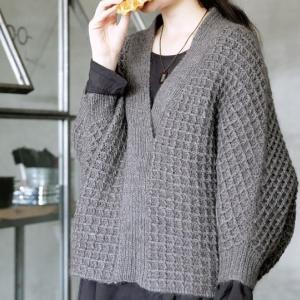 無料編み図プル☆ワッフルみたいな模様にクギづけ♪ドルマンプル