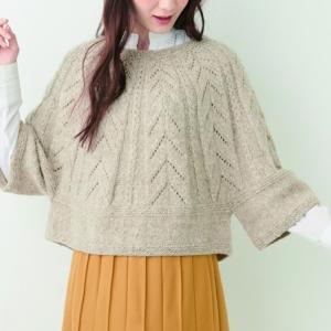 編み物キットポンチョ風プル☆やわらかなアルパカで編む透かし模様編み図レシピ