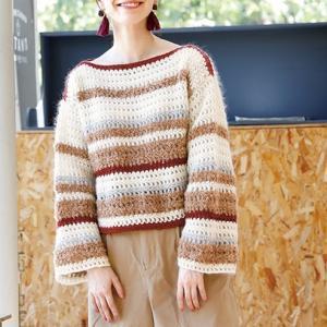 かぎ針編み無料編み図プル☆異素材を組み合わせたドロップセーター