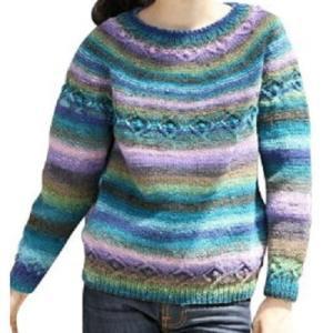 棒針編み手編みセット☆華やかな色遣いを楽しむ丸ヨークセーター