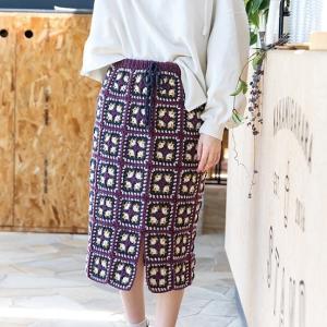 無料編み図スカート☆モチーフを編みつないでちょこっとレトロなお揃いスカート