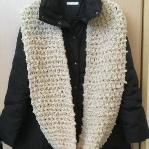 100均の毛糸『Miu(ミュー)』を使ってかぎ針編みのスヌード☆編み上り