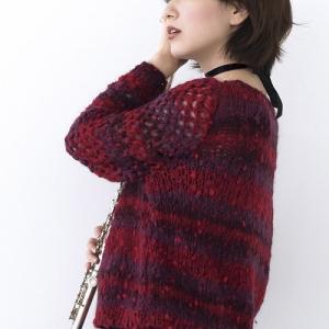 無料編み図プル☆透かし袖のふわっと感が可愛いセーター