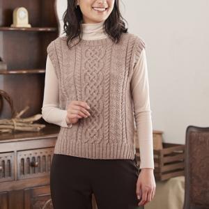 ベストの手編みセット☆53色から選べる!アランとガンジー模様のベスト