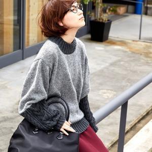 無料編み図プル☆異素材切り替えがユニークなセーター