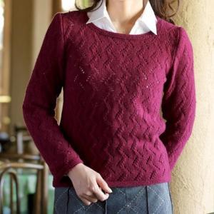 無料編み図☆カシミヤ100%♪の毛糸で上品な模様編みのセーター