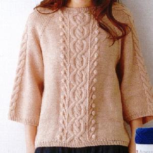 手編みセット☆柔らかな毛糸で棒針編みのネックから編むプルオーバー