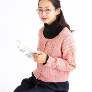 無料編み図カーディガン☆点かすりが和調で愛らしいカーディガン