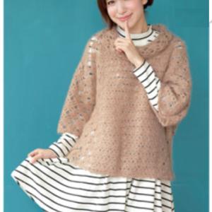 無料編み図☆シルクとモヘアの大人カジュアルなオフタートルセーター