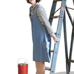 無料編み図ワンピース☆合わせやすいサロペットスカート
