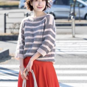 無料編み図プル☆異素材の組み合わせが可愛いボーダーセーター