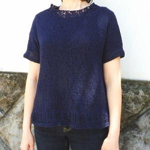 手編みセット☆真夏でもOK!シルク混の上質糸で半袖プルオーバー