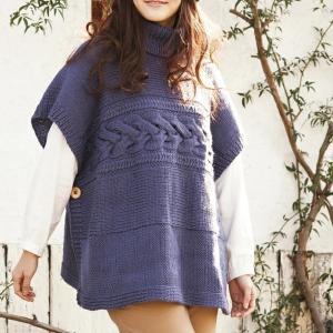 無料編み図☆ゆるりあったか♪シルク混のお糸で編むポンチョ