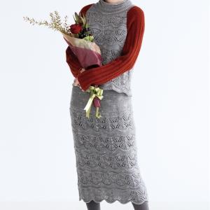 無料編み図スカート☆ボディーラインのすっきりした透かし編みのセットアップ