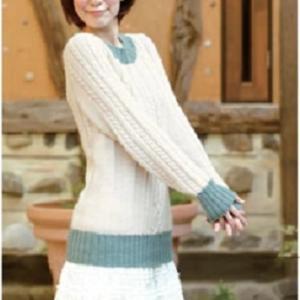 無料編み図☆伝統のアランセーターに私らしさのエッセンス♪バイカラーセーター