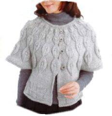 手編みセット☆リーフ柄ヨークカーディの編み物キット