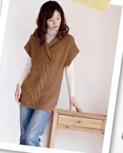 無料編み図☆ベビーアルパカ100%の毛糸でちょうどいい着丈のチュニック