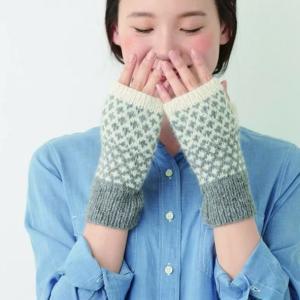 手編みセット☆希少なロイヤルアルパカで編む編み込みハンドウォーマー
