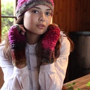 手編みセット☆1玉で編めちやう♪段染めx市松模様のニット帽