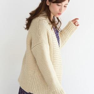 無料編み図カーデ☆ジャケットライクに着られる棒針編みのカーディガン