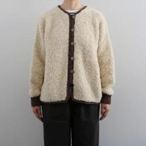 編み図プレゼント☆ループ毛糸で編むノーカラーボアジャケット