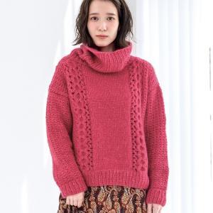 無料編み図棒針編みプル☆イタリア毛糸でロールネックセーター