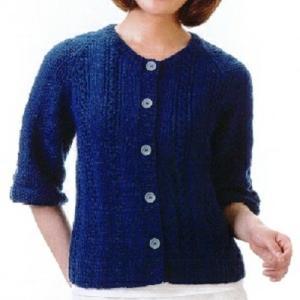 手編みセット☆ケーブルと地模様の清楚なラグランカーディガン