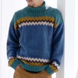 無料編み図メンズ☆ジグザグ模様の編み込みセーター