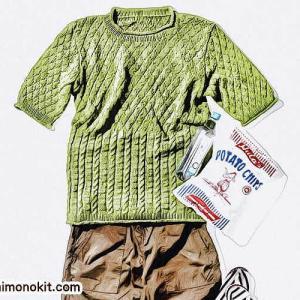無料編み図☆大人男子におすすめ♪クルーネックニットセーター