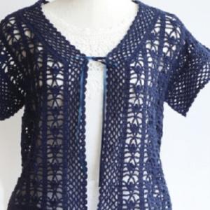 手編みセット☆コットン100%の半そでカーディガンとストール