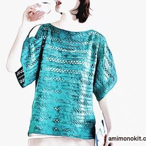 無料編み図プル☆大人可愛いヘルシーな肌見せのまっすぐセーター