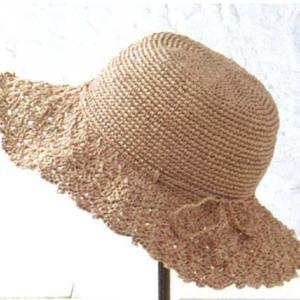手編みセット☆シェル編みの幅広ブリムが涼しげなつば広帽子
