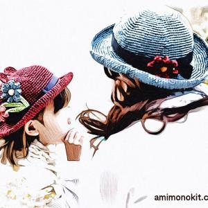 無料編み図子供帽子☆お揃いコーデも楽しめるペアで可愛い帽子くま耳つき♪
