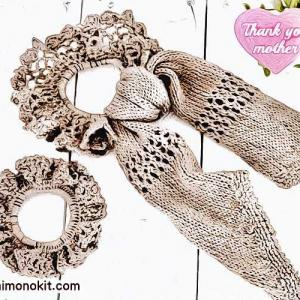 無料編み図シュシュ☆女性らしさをプラス♪リボンが可愛いヘアアクセサリー