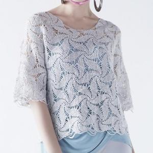 もらえる無料編み図プル☆風ぐるま模様が連なるエクセレントなプルオーバー