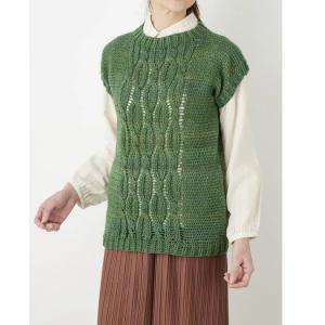 ベスト手編みセット☆合わせるインナーでロングシーズン着られる引き上げ編み縄模様のまっすぐベスト