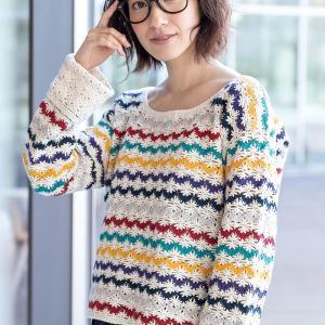無料編み図☆ほどよく可愛いカジュアルボーダーセーター