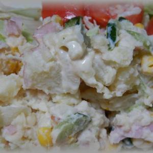 ポテトサラダと鶏天南蛮