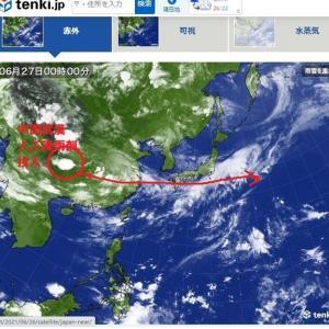 豪雨災害の日を数日さかのぼると、同じ場所で日本の大きさの雲が3時間で発生