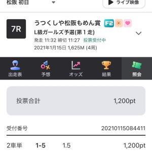 1月15日の結果!!本命編1