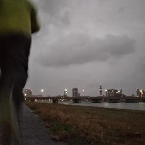 ジョギング2発 やすらぎ堤の紅葉 大竹座解体作業