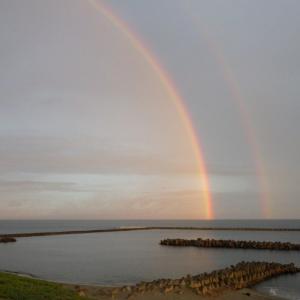 ジョギング 朝焼けと二重の虹