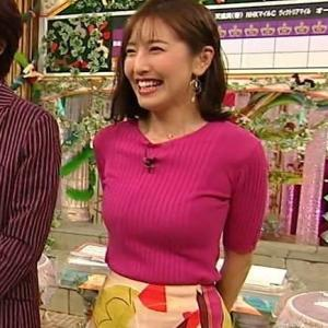 小澤陽子アナのノースリ巨乳がデカ過ぎてエロ過ぎる!【画像】ノースリニットで爆乳横乳を披露!