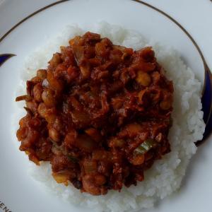 節分残りの豆のキーマカレー