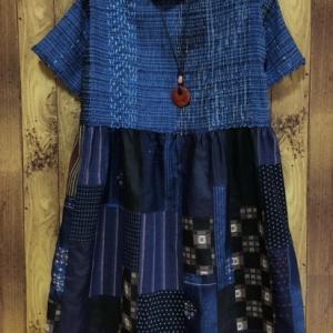手織り布と古布のコラボワンピース