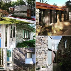 輸入建材:外壁にストーン使用の考案イメージデザイン。